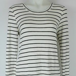 Maison Jules White & Black Striped LS Top Size L